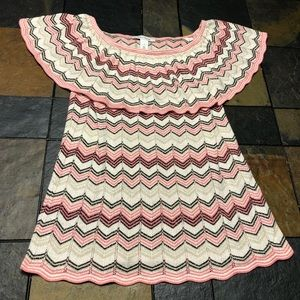 White House Black Market knit ruffle top size S